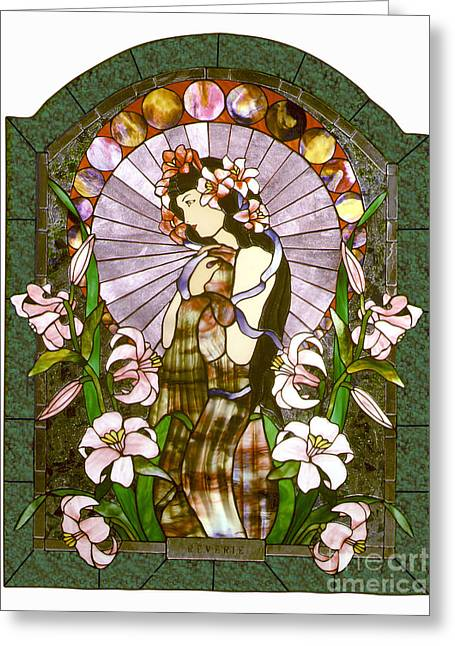 Art Nouveau Glass Art Greeting Cards - Reverie Greeting Card by John Emery