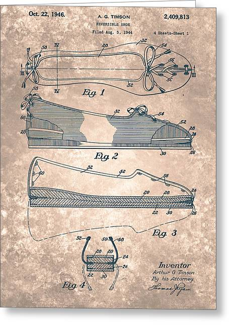 Reversible Greeting Cards - Reversible shoe  Patent From 1946 Greeting Card by Celestial Images