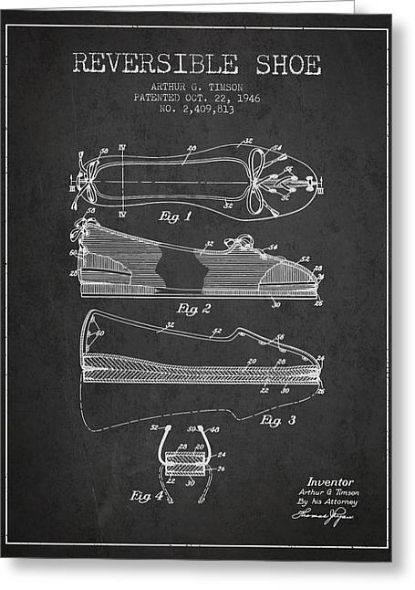 Lace Shoes Greeting Cards - Reversible Shoe Patent from 1946 - Charcoal Greeting Card by Aged Pixel