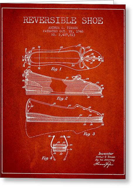 Lace Shoes Greeting Cards - Reversible Shoe Patent from 1946 - Red Greeting Card by Aged Pixel