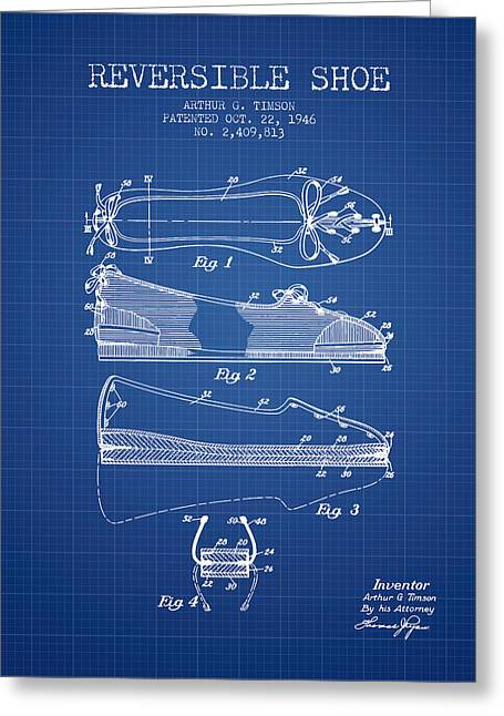 Lace Shoes Greeting Cards - Reversible Shoe Patent from 1946 - Blueprint Greeting Card by Aged Pixel