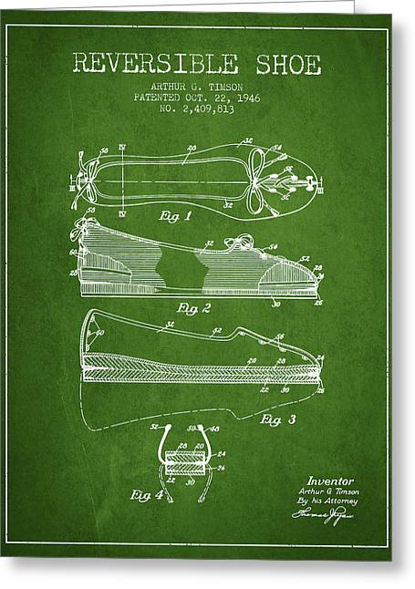 Lace Shoes Greeting Cards - Reversible Shoe Patent from 1946 - Green Greeting Card by Aged Pixel