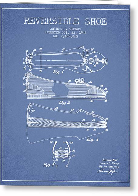 Lace Shoes Greeting Cards - Reversible Shoe Patent from 1946 - Light Blue Greeting Card by Aged Pixel