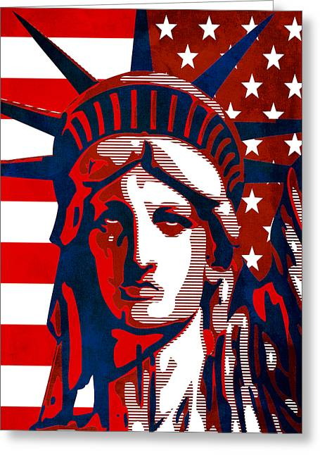 Reversing Liberty 2 Greeting Card by Angelina Vick