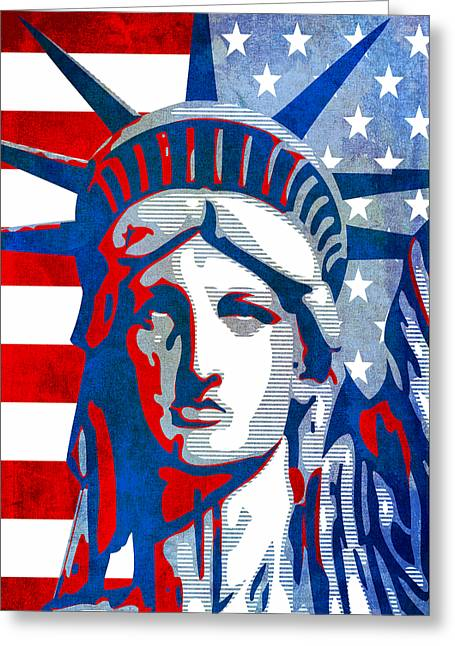 Reversing Liberty 3 Greeting Card by Angelina Vick