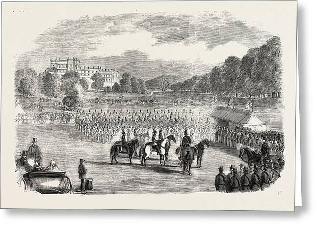Review Of Derbyshire Rifle Volunteers At Chatsworth Park Greeting Card by English School