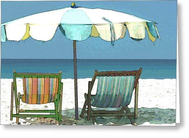 Recently Sold -  - Cambria Greeting Cards - Revised Seaside Beach Umbrella and Chairs Greeting Card by Elaine Plesser