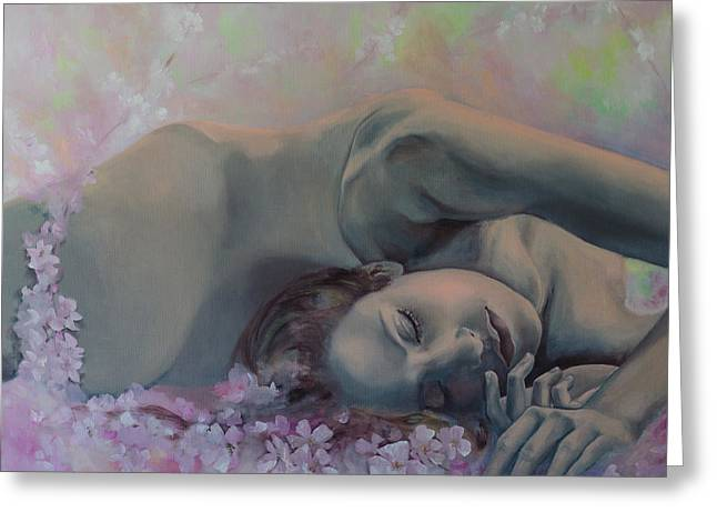 Nude Figurative Greeting Cards - Revival Greeting Card by Dorina  Costras