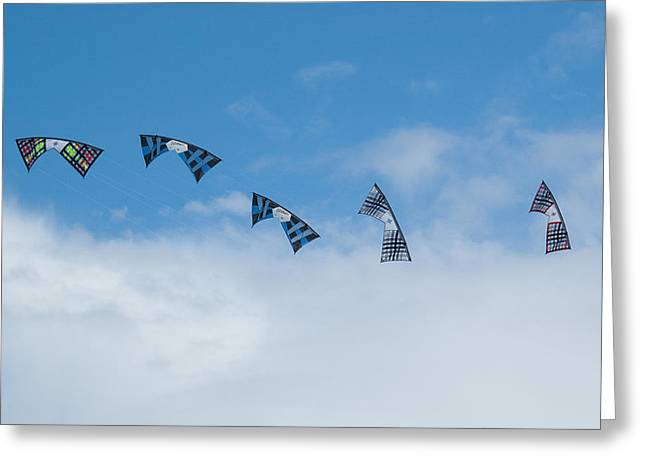 Kites Festival Greeting Cards - Revolution kites at the Windscape Kite Festival 2011 Greeting Card by Rob Huntley