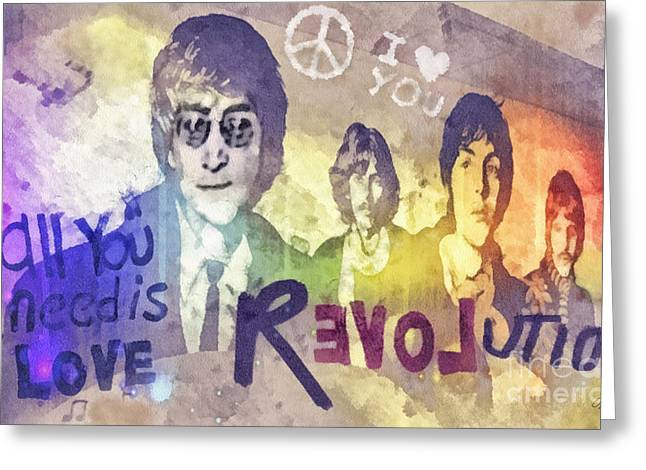 Beatles John Lennon Paul Mccartney George Harrison Ringo Starr Music Rock Icon Greeting Cards - Revolution Greeting Card by Mo T