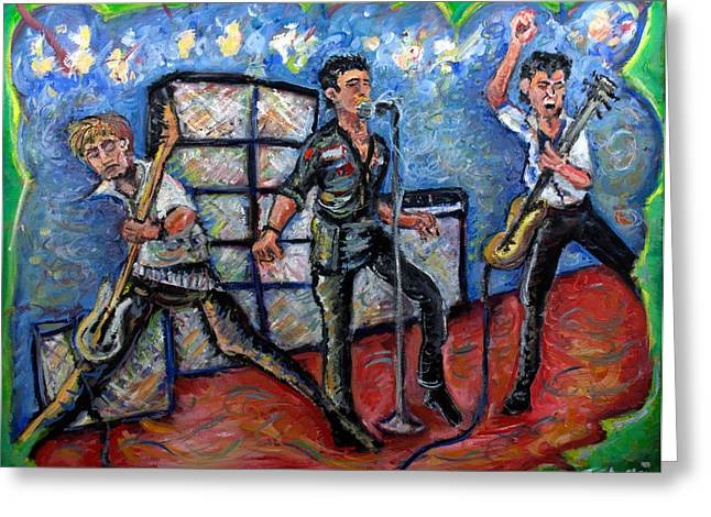 U2 Paintings Greeting Cards - Revolution Rock The Clash Greeting Card by Jason Gluskin