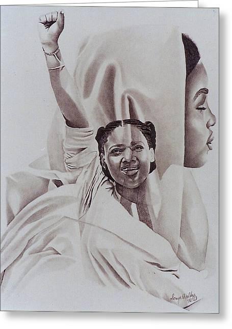 African-american Drawings Greeting Cards - Revolutionary Spirit Greeting Card by Sonya Walker