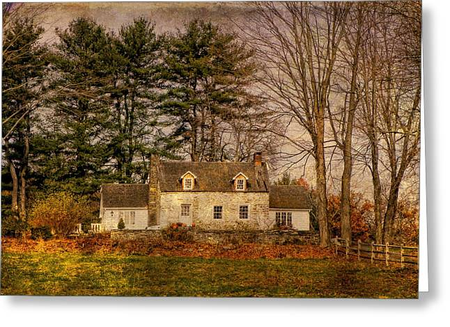 Pamela Phelps Greeting Cards - Revolutionary Stone House-Textured Image Greeting Card by Pamela Phelps