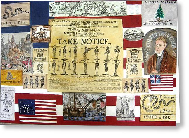 Join Or Die Greeting Cards - Revolutionary War America  Greeting Card by Lois Charles