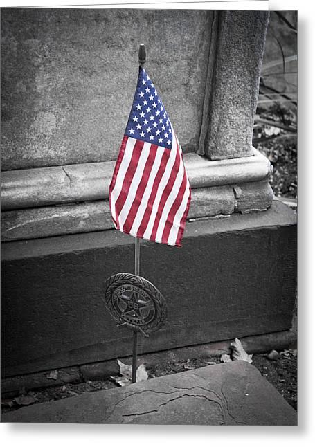 Headstones Greeting Cards - Revolutionary War Veteran Marker Greeting Card by Teresa Mucha