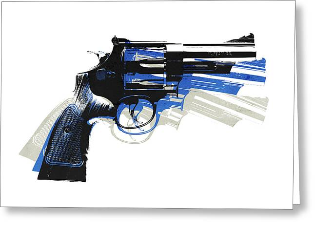 Warhol Greeting Cards - Revolver on White - right facing Greeting Card by Michael Tompsett
