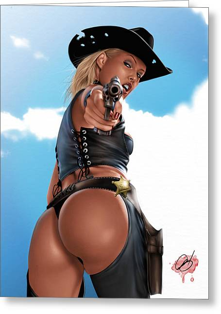 Chaps Greeting Cards - Revolver Greeting Card by Pete Tapang