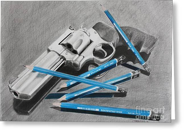 Pistol Drawings Greeting Cards - Revolver with Pencils Greeting Card by Joshua Navarra