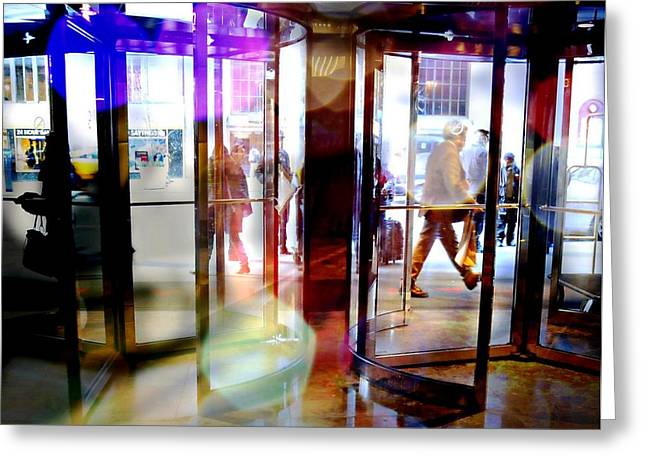Glass Doors Greeting Cards - Revolving Doors Greeting Card by Diana Angstadt