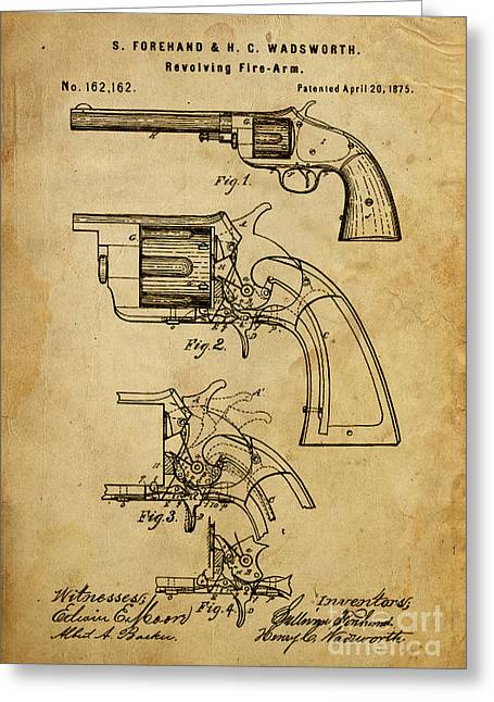 Forehand Greeting Cards - Revolving Fire-Arm - Patented on 1875 Greeting Card by Pablo Franchi