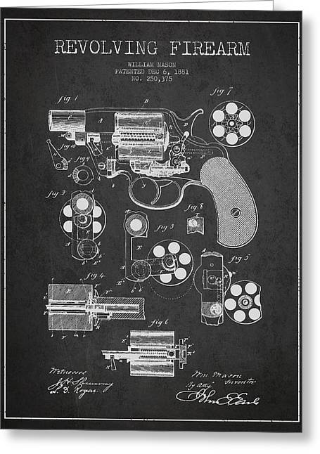 Technical Greeting Cards - Revolving Firearm Patent Drawing from 1881 - Dark Greeting Card by Aged Pixel