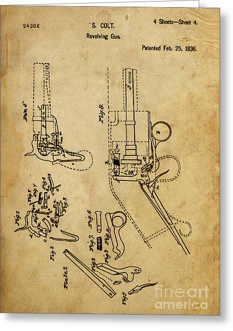 Pistol Drawings Greeting Cards - Revolving Gun - Patented on 1836 Greeting Card by Pablo Franchi