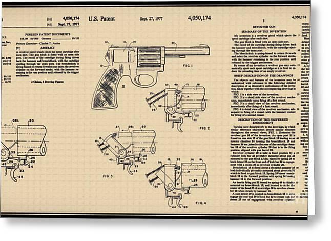 Hunting Cap Greeting Cards - Revolving gun U.S. Patent a Greeting Card by Brian Lambert