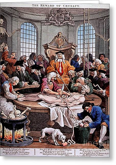 Historical Images Greeting Cards - Reward Of Cruelty By William Hogarth Greeting Card by National Library Of Medicine