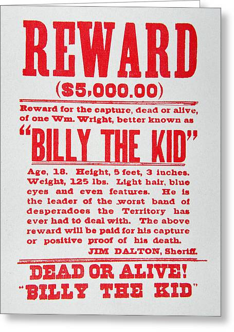 Police Paintings Greeting Cards - Reward Poster for Billy the Kid Greeting Card by American School