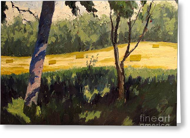 Rural Indiana Paintings Greeting Cards - Reworked ROLLING WHEAT Greeting Card by Charlie Spear