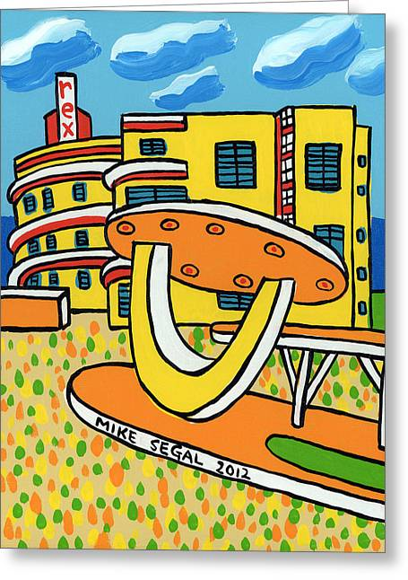 Mike Segal Greeting Cards - Rex Hotel - Miami Beach Greeting Card by Mike Segal