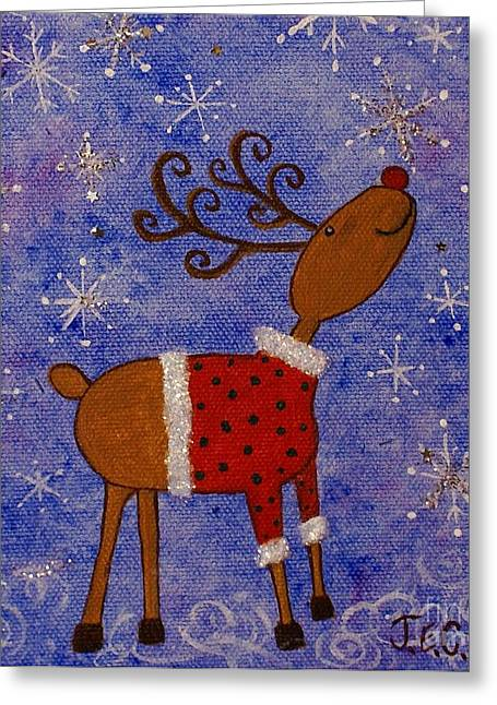 Rudolph Paintings Greeting Cards - Rex the Reindeer Greeting Card by Jane Chesnut