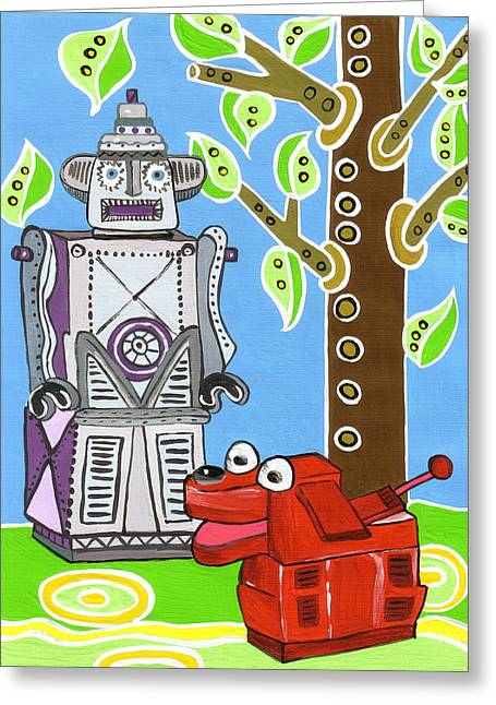 Child Toy Paintings Greeting Cards - Rex the Robot Dog and Robot Friend Greeting Card by Lynnda Rakos