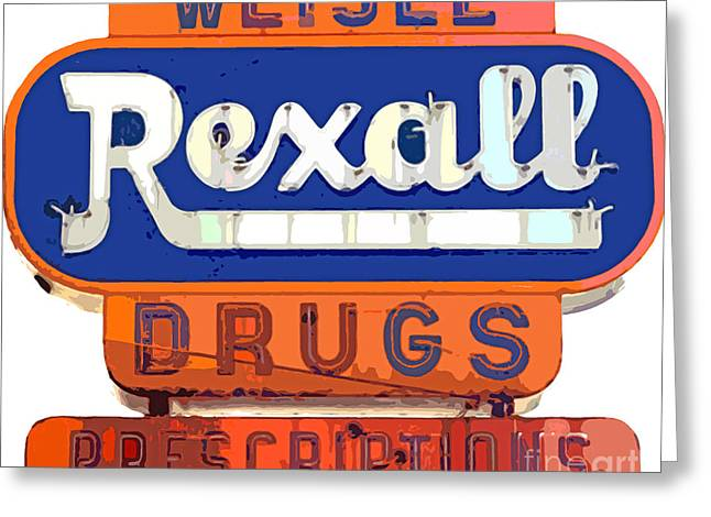 Road Signs Greeting Cards - Rexall Drugs Greeting Card by David Lloyd Glover