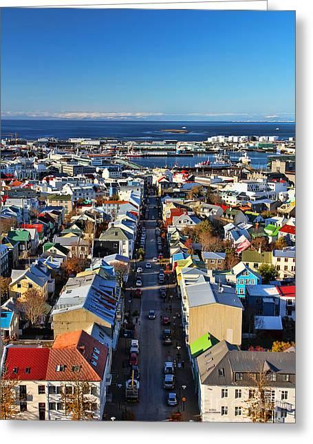 Color Splash Greeting Cards - Reykjavik Cityscape Greeting Card by Jasna Buncic