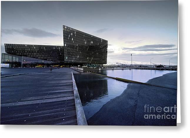 Symphony Hall Greeting Cards - Reykjavik Festival Hall  Greeting Card by Rob Hawkins