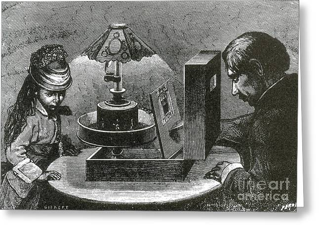Historic Home Greeting Cards - Reynauds Praxinoscope For The Home, 1883 Greeting Card by Science Source