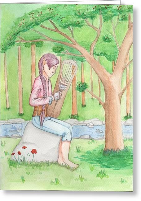 Trossingen Greeting Cards - Reynir Playing The Harp Greeting Card by Sjofn Snorradottir