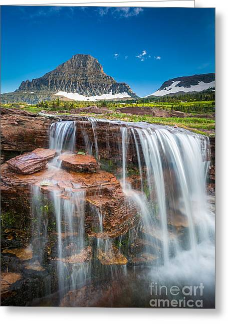 Reynolds Greeting Cards - Reynolds Mountain Falls Greeting Card by Inge Johnsson