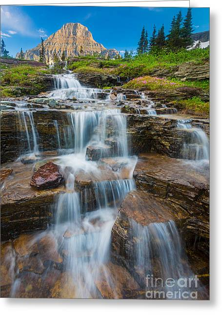 Reynolds Greeting Cards - Reynolds Mountain Waterfall Greeting Card by Inge Johnsson