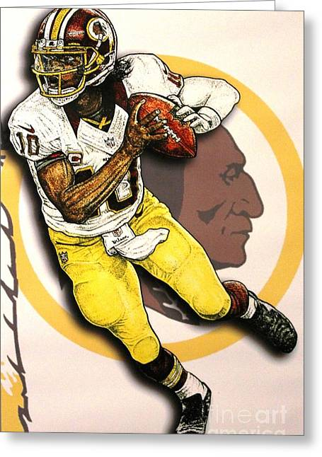 Nike Greeting Cards - Rg3 Greeting Card by Anthony Young