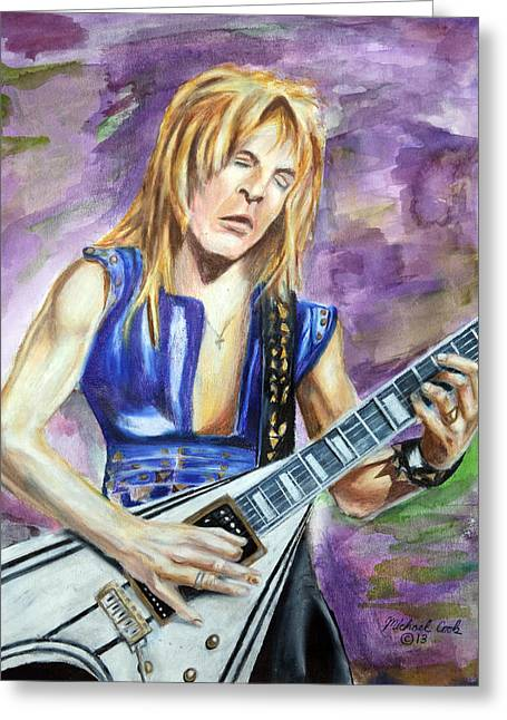 Randy Mixed Media Greeting Cards - Rhandy Rhoads number one Greeting Card by Michael Cook