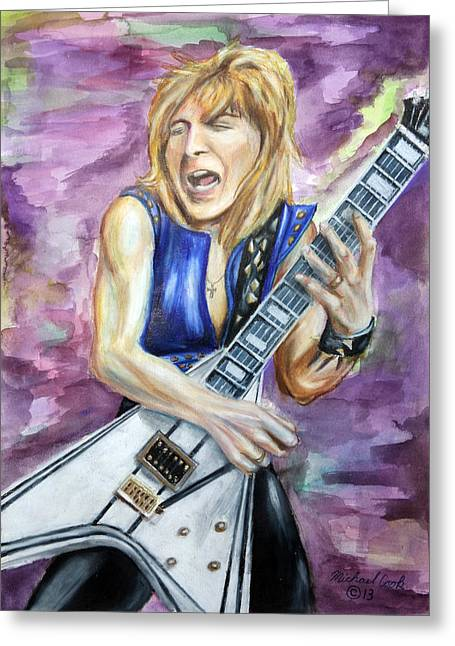 Randy Mixed Media Greeting Cards - Rhandy Rhoads number three Greeting Card by Michael Cook