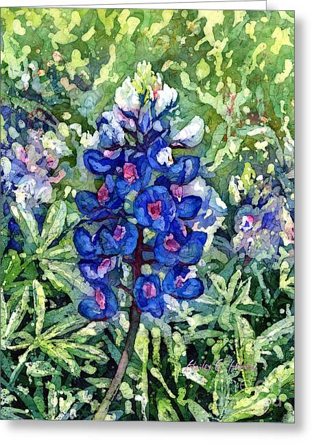 Floral Art Paintings Greeting Cards - Rhapsody in Blue Greeting Card by Hailey E Herrera