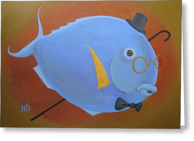 Golden Fish Paintings Greeting Cards - Rhapsody in Blue Greeting Card by Marina Gnetetsky