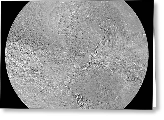 Rhea's North Pole Greeting Card by Nasa/jpl-caltech/space Science Institute