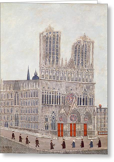 Rose Tower Greeting Cards - Rheims Cathedral, C.1923 Oil On Canvas Greeting Card by Louis Vivin