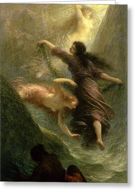 Gold Ring Greeting Cards - Rheingold, First Scene, 1888 Oil On Canvas Greeting Card by Ignace Henri Jean Fantin-Latour