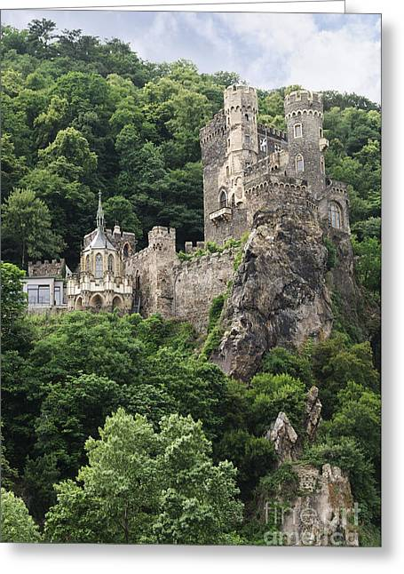 Rheinstein Castle Greeting Card by Oscar Gutierrez
