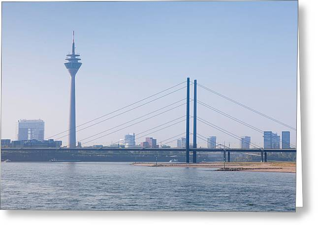 Communications Tower Greeting Cards - Rheinturm Tower And Rheinkniebrucke Greeting Card by Panoramic Images